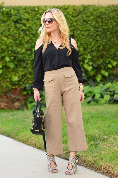 black cold shoulder INC top - dark khaki culottes Zara pants