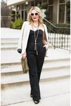 black jumpsuit Rick Yuen jumper - beige Zara blazer