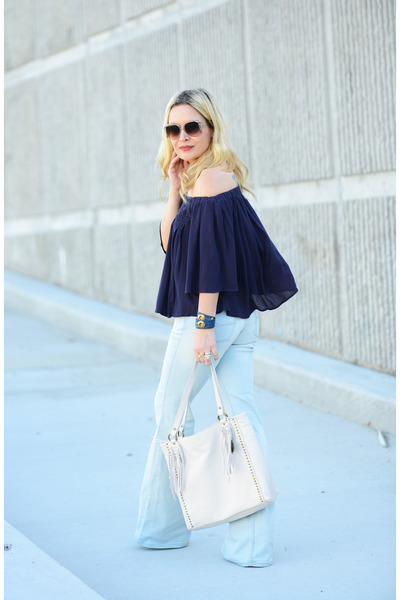 navy off shoulder Chloe & Katie top - periwinkle flares Crafted by Lee jeans
