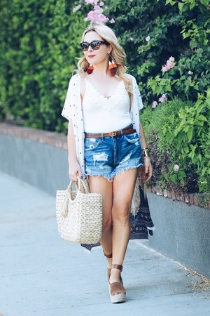 ivory kimono One Tribe cardigan - blue denim Zara shorts