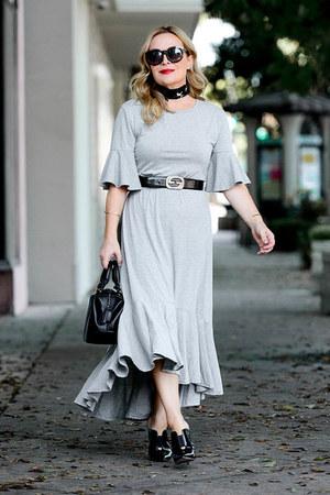 heather gray grey Sheinside dress - black vintage Gucci belt