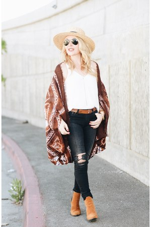 brown kimono Bare Anthology cardigan - black skinny AG Jeans jeans
