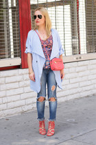 red tank top Marc by Marc Jacobs top - periwinkle trench Sheinside coat
