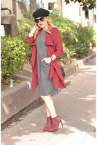 heather gray shift Karina Dresses dress - ruby red trench Yoins coat