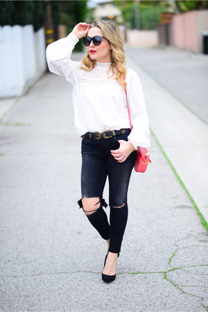ivory lace Shopbop top - black skinny AG Jeans jeans