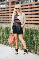 salmon bucket Dooney & Bourke bag - black faux leather Zara shorts