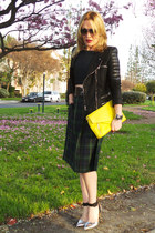 black faux leather Chicwish jacket - yellow clutch Pour La Victoire bag