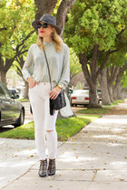 white distressed madewell jeans - gray fedora Nordstrom hat