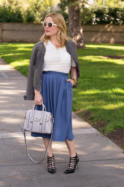 white sheer piperlime top - blue midi asos skirt