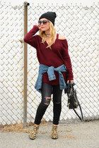 brick red cold shoulder Sheinside sweater
