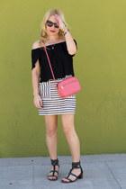 black off shoulder Topshop skirt - white striped madewell skirt