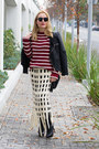 Black-motorcycle-chicwish-jacket-ruby-red-striped-zara-sweater