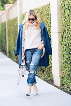 off white turtleneck Joie sweater - navy floral print Rockport heels