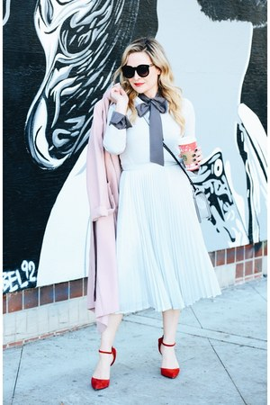 silver pleated StyleWe skirt - light pink Missguided coat