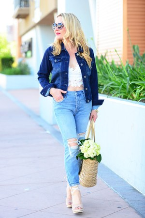 navy denim Crafted by Lee jacket - sky blue mom jeans Topshop jeans