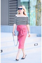 hot pink pencil asos skirt - black striped Splendid top