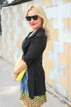black angora vintage sweater - black pinstripe Betsey Johnson jacket