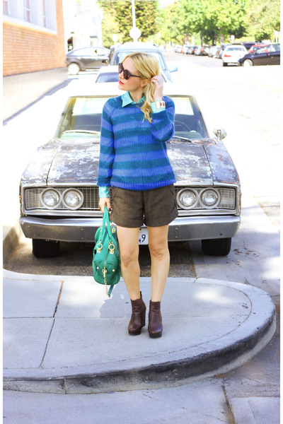 turquoise blue stiped mohair madewell sweater