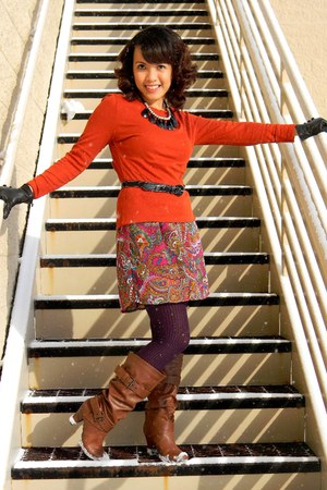 Target boots - Target dress - Chinese Laundry tights - Nordstrom Rack necklace -