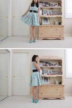 sky blue DIY dress - turquoise blue Santee Alley heels - black Wetseal belt