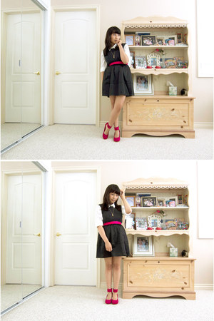 hot pink Plndr wedges - white madewell blouse - black H&M skirt