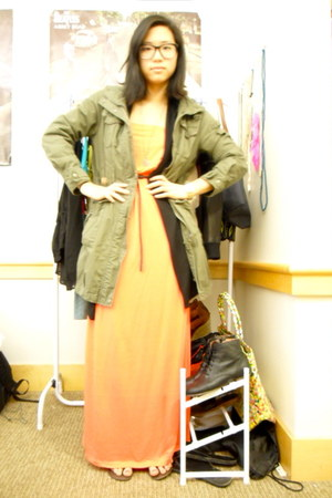 coral f21 dress - army green CLRIDEn jacket - black H&M cardigan