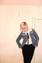 gift jacket - necktie DIY scarf - Oasis pants - vintage blouse