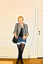 vintage boots - vintage jacket - vintage bag - made by me shorts - Topshop top