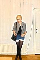 vintage boots - vintage jacket - vintage bag - made by me shorts - Topshop top