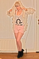vintage boots - Dorothy Perkins shorts - Topshop vest - Topshop cardigan