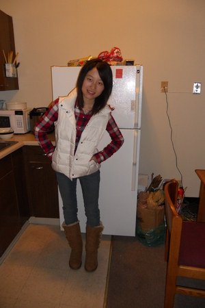 vest - bailey button Ugg boots - skinny jeans calvin klein jeans - plaid shirt