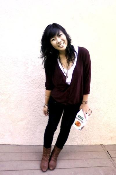 brown H&M boots - black Forever 21 bracelet - white Forever21 shirt - red Foreve