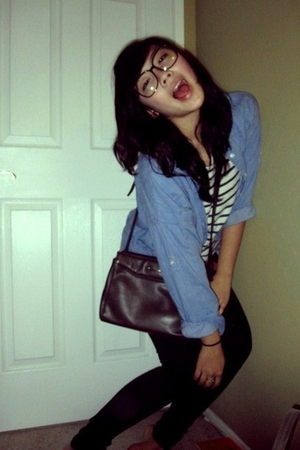 blue H&M shirt - brown thirfted purse - white thrifted shirt - black Forever 21