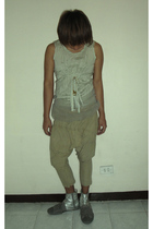 green Comme des Garcons top - green Pas De Calais shorts - silver Mihara Yasuhir