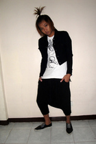 white vivienne westwood shirt - black plantation jacket - black portfranc shorts