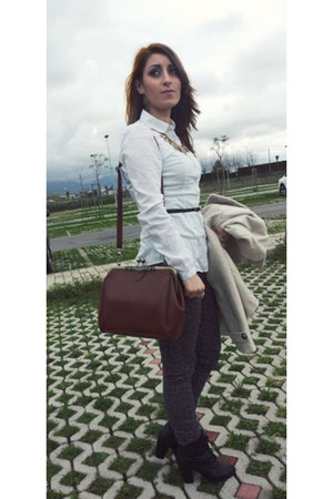 brick red faux leather OASAP bag - black faux leather new look boots