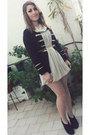 Ivory-chiffon-motivi-dress-black-cardigan-sammydress-blazer