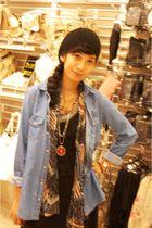 black Bazaar hat - blue Topshop shirt - blue thrifted scarf - black thrifted dre