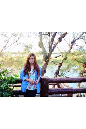 denim jacket - black leggings - blue ombre scarf - floral print blouse