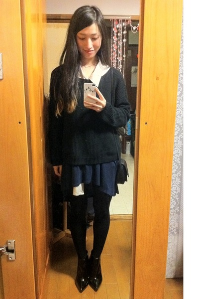 black Topshop boots - navy H&M dress - black Gap sweater