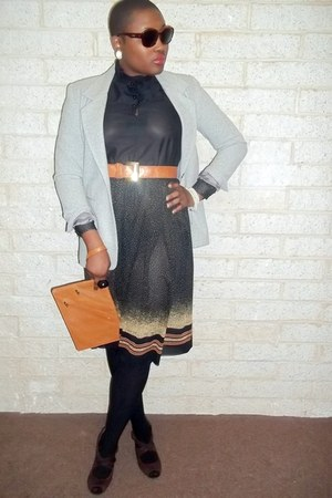 victorian vintage dress - tailored wool vintage blazer - camel zippered vintage
