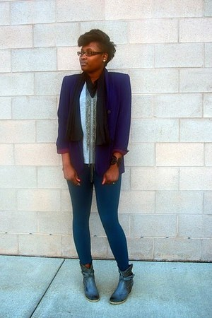 leather western Journeys boots - jade cotton Forever 21 leggings - purple tailor