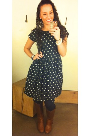 polka dots Anthropologie dress - brown Target boots - pearls Forever 21 bracelet