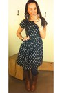 Brown-target-boots-polka-dots-anthropologie-dress-pearls-forever-21-bracelet