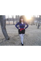 Gap sweater - Target tights - H&M shorts - Jeffrey Campbell wedges - unknown bra