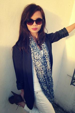 Topshop scarf - midnight blue Forever 21 blazer