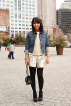 Forever 21 jacket - Forever21 sweater - Chanel bag - Gryphon New York shorts - F