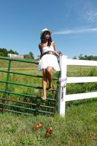 Forever 21 dress - random brand belt - Aldo shoes - saks hat - Ray Ban sunglasse