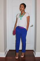 H&M t-shirt - Tibi pants - JCrew accessories - Christian Louboutin shoes - coach