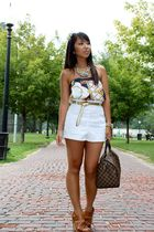 gold Ralph Lauren belt - white Forever21 shorts - Aldo shoes - Zara skirt - Loui